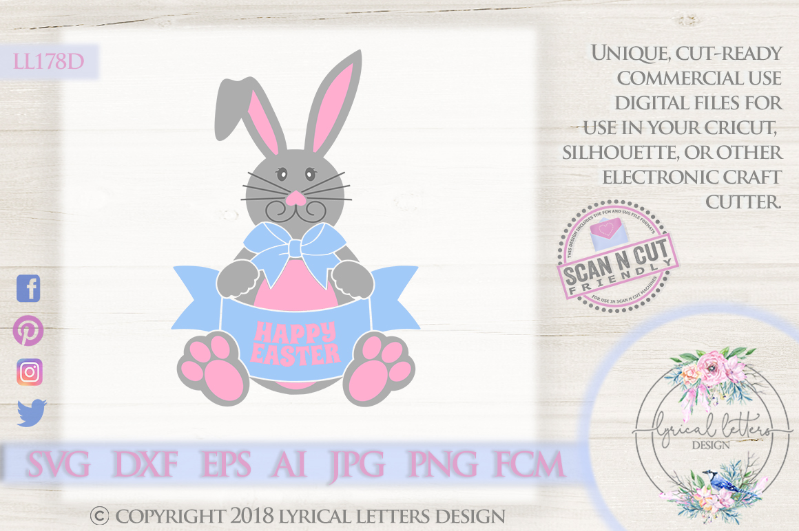 Happy Easter Bunny SVG DXF Cut File LL178D example image 1