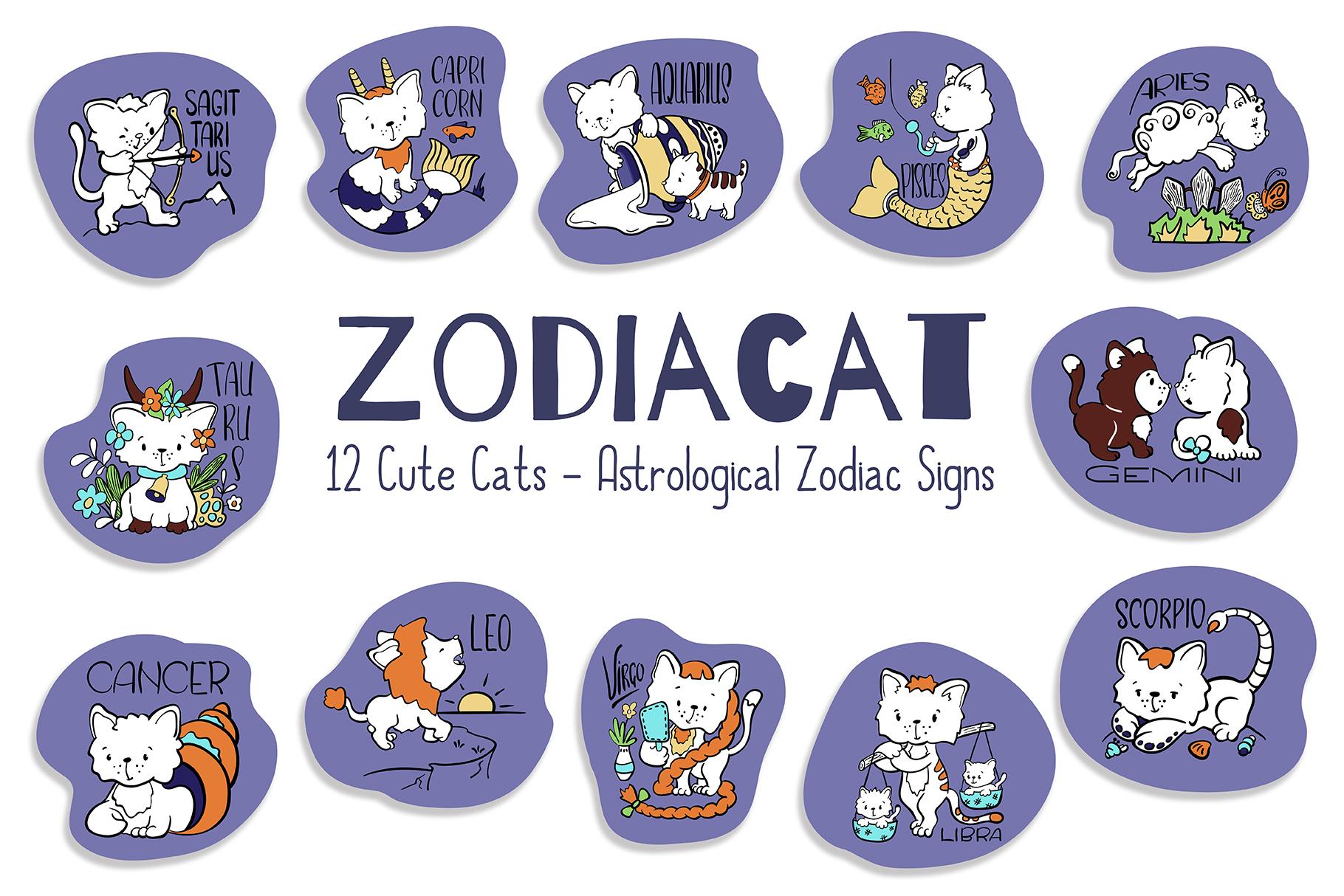 Zodiac Signs Cute Cat Vector Set. Astrological Symbols example image 1