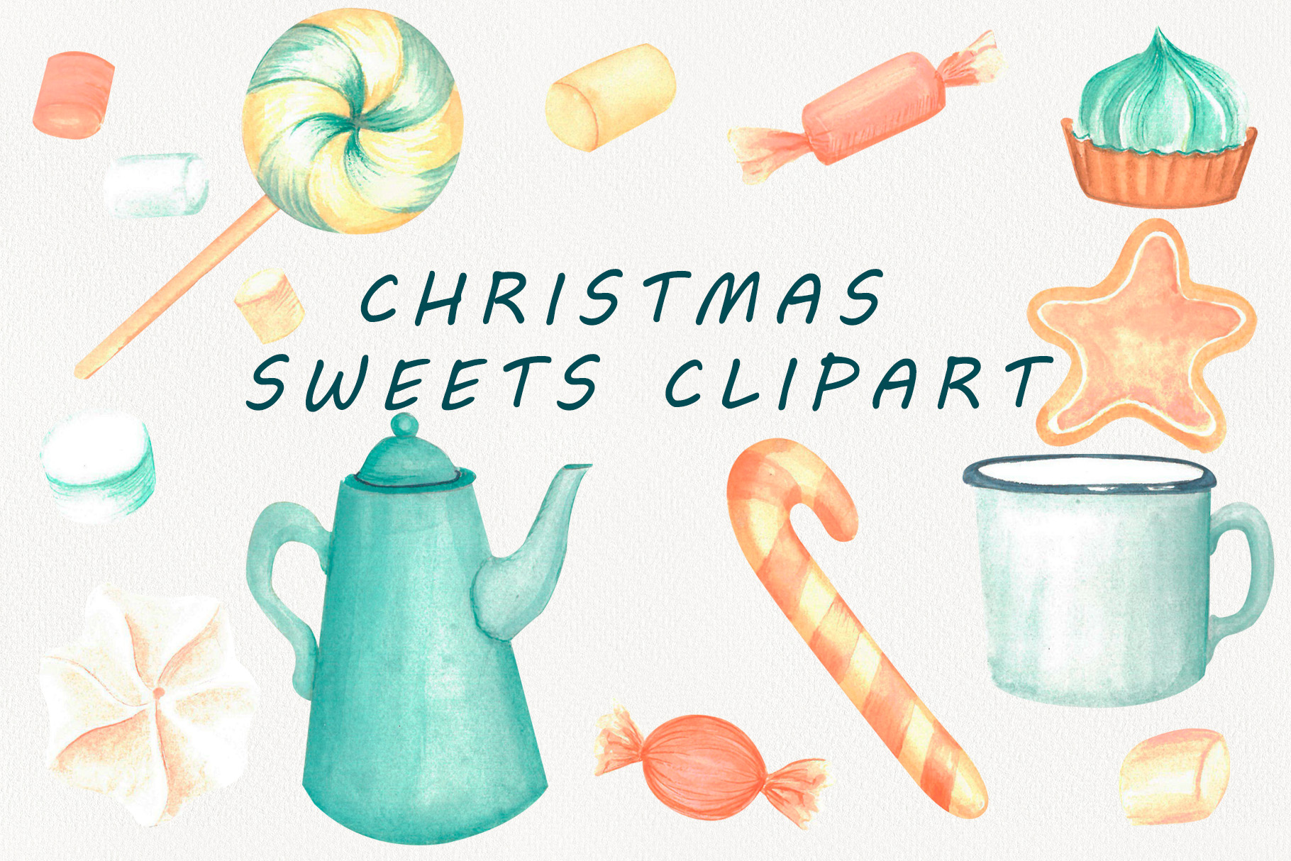 Christmas sweets watercolor clipart example image 4