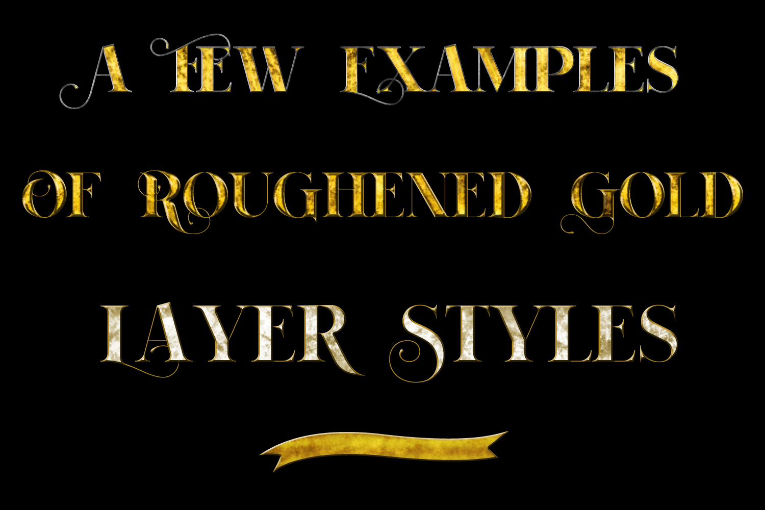 20 Roughened Gold Metallic Layer Styles for Photoshop example image 2