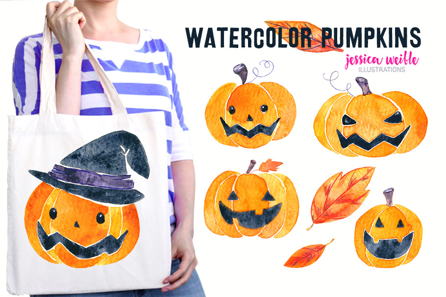 Watercolor Halloween Pumpkins & Leaves example image 1