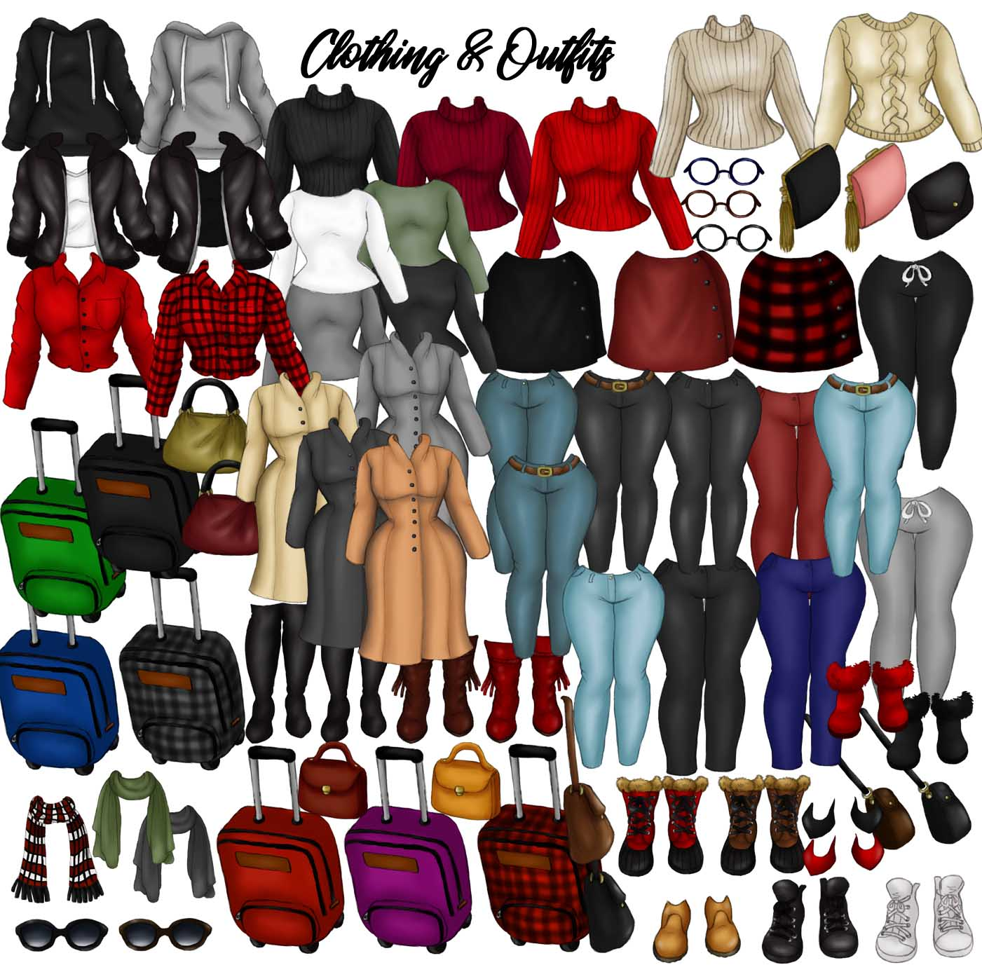 Winter Fashion &Travel Clipart DIY Customizable Paper Dolls example image 3