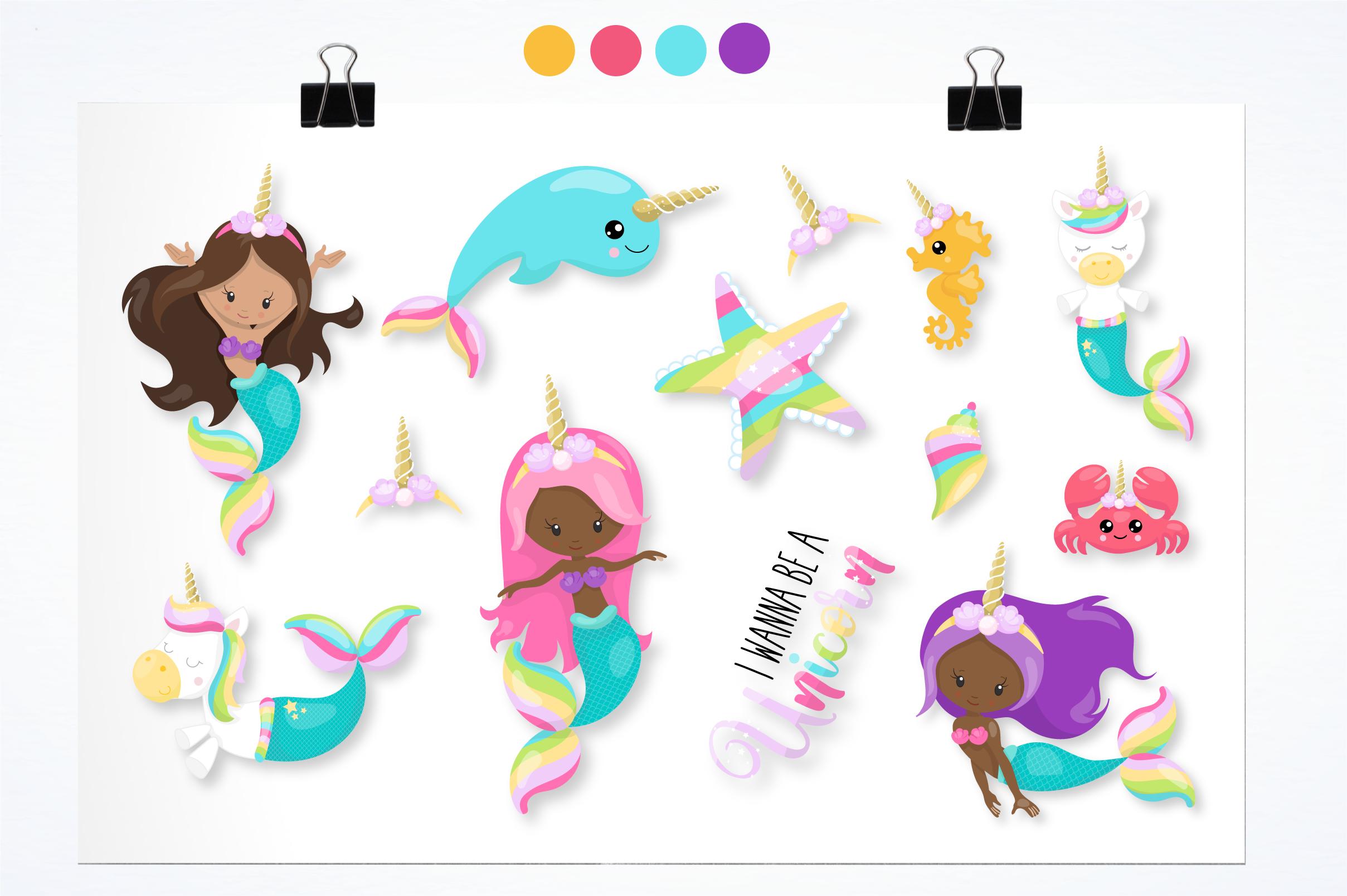 unicorn mermaid graphics and illustrations example image 3