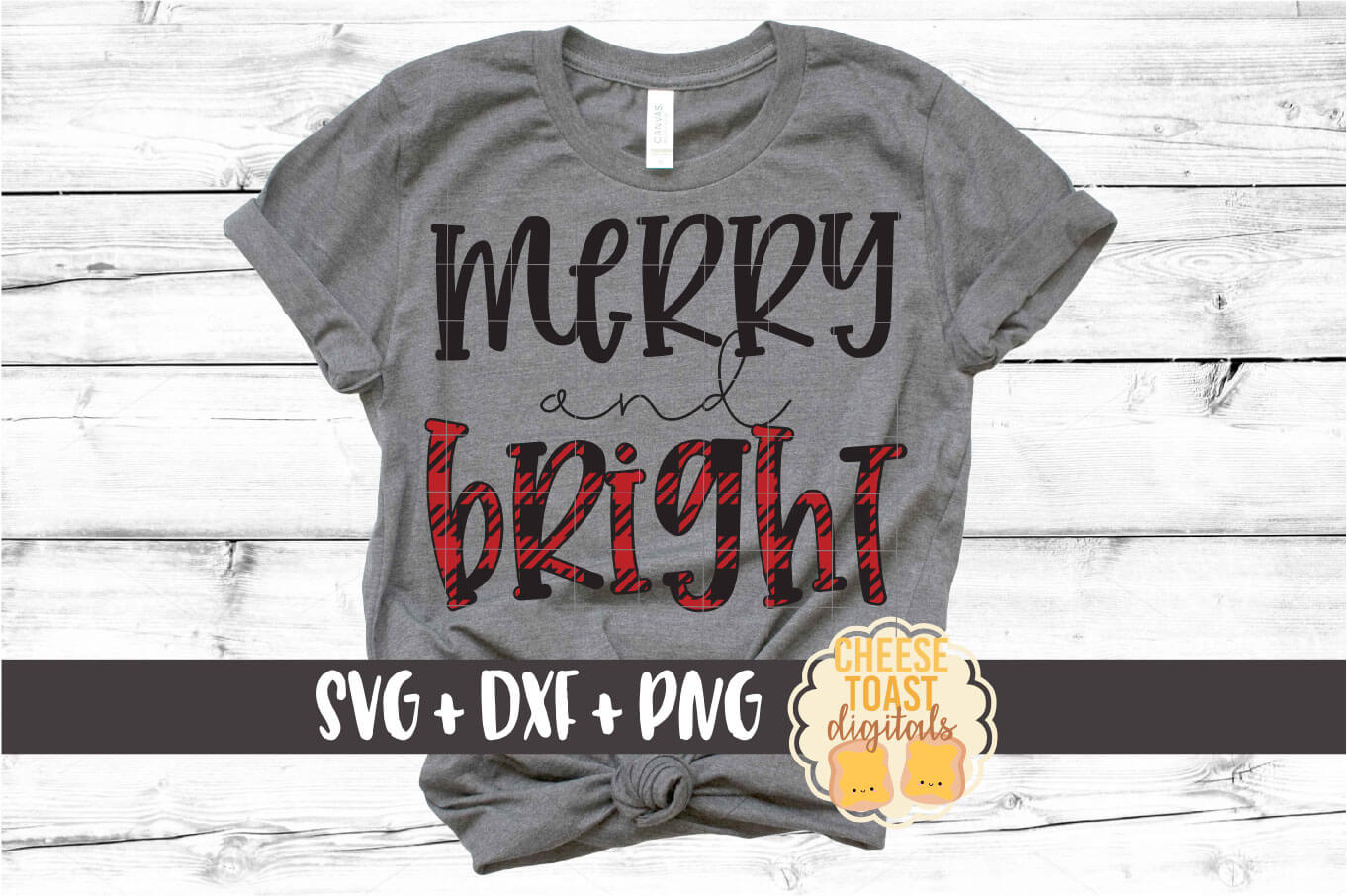Merry and Bright - Christmas SVG PNG DXF Cut Files example image 1