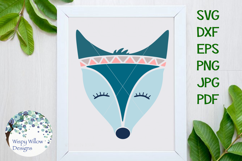 Teal Boho Fox SVG example image 1