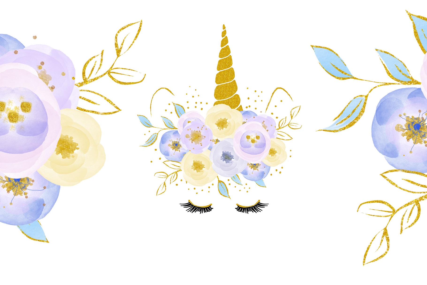 Unicorn clip art, flowers with gold example image 3