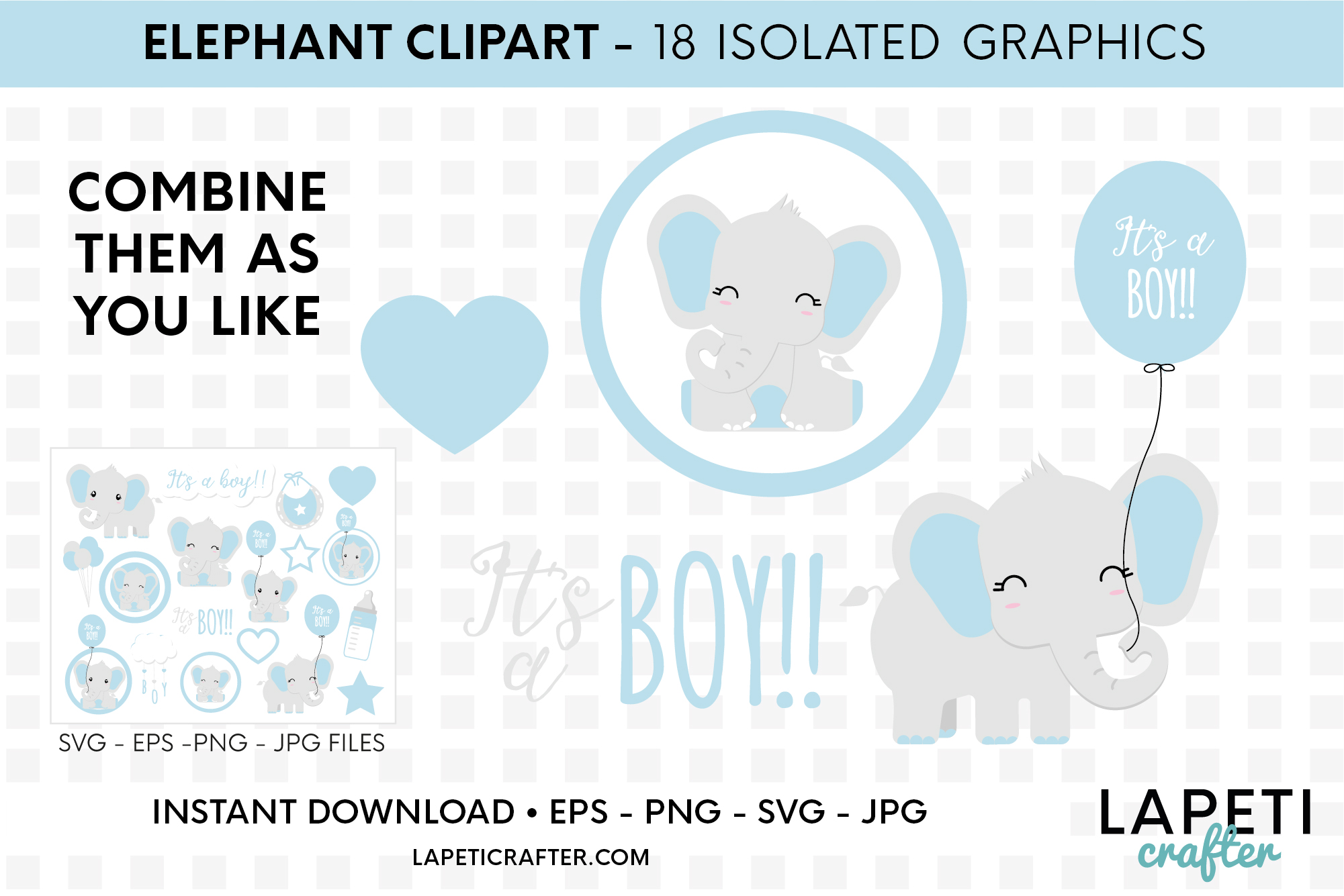 Its a boy Elephant clipart, gender reveal, baby shower svg example image 6