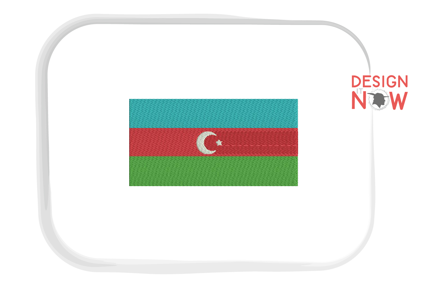 Flag Of Azerbaijan Embroidery Design, Map Embroidery example image 1