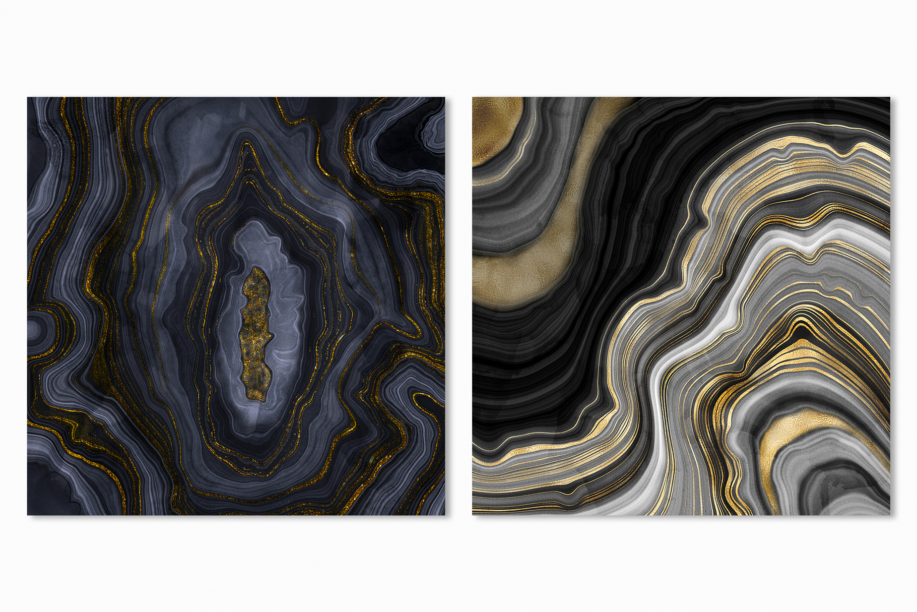10 Agate Stone Digital Papers - Gold Veined Geode Textures example image 16