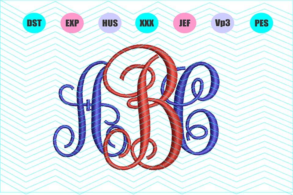 Vine monogram Machine Embroidery Design 13 Sizes example image 1