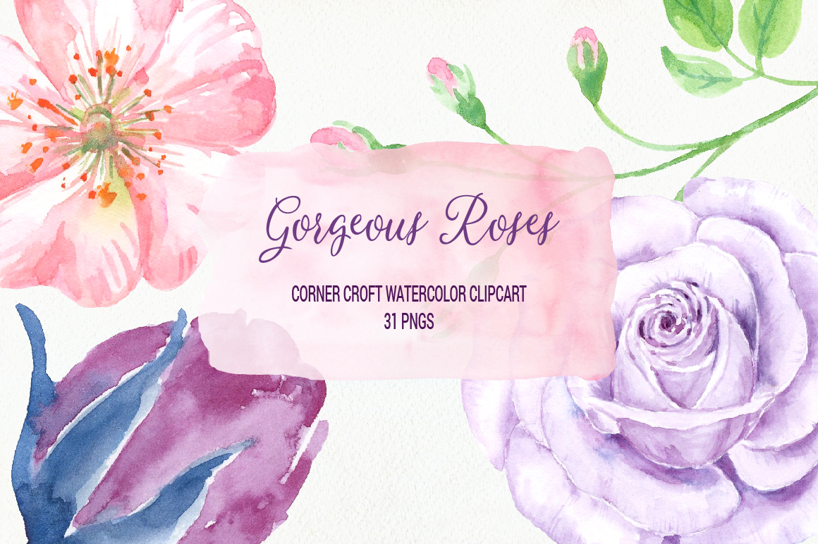 Watercolor Clip Art Gorgeous Roses example image 1