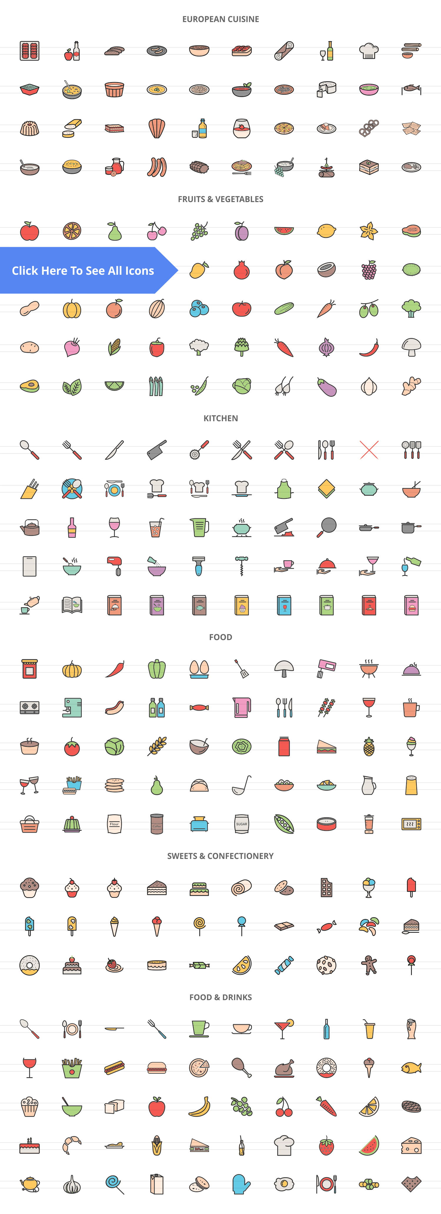 270 Food & Drinks General Filled Line Icons example image 2