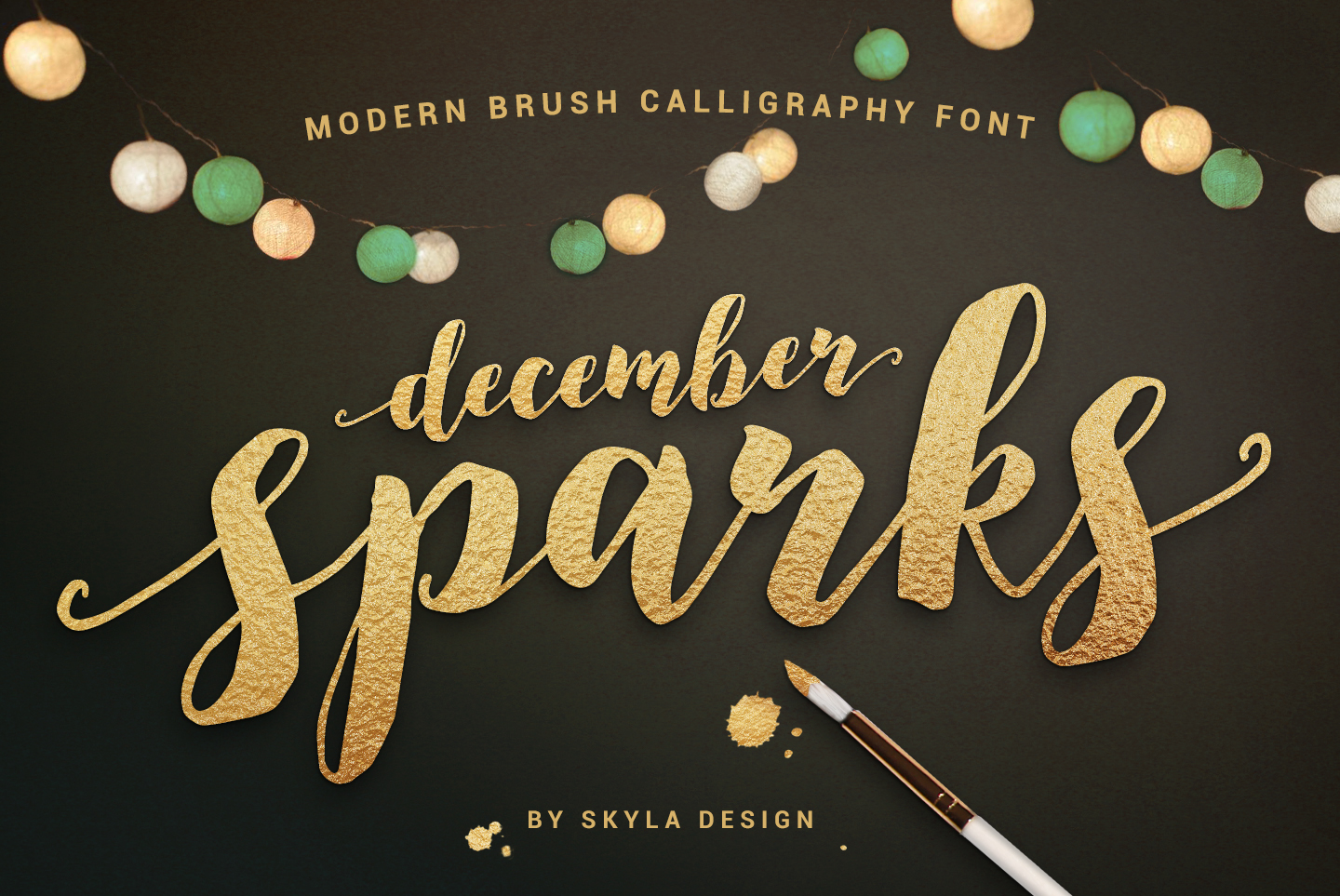 Modern brush calligraphy font, December Sparks example image 1