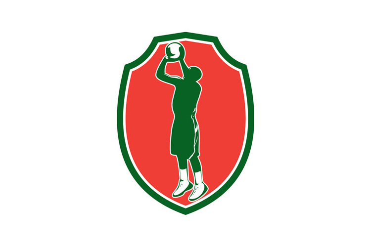 Basketball Player Jump Shot Ball Shield Retro example image 1