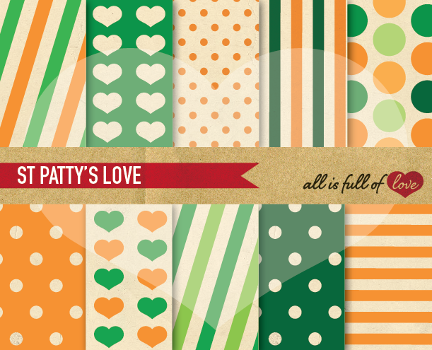 St Paddy's Digital Paper Orange and Green Background Patterns with Vintage Paper example image 1