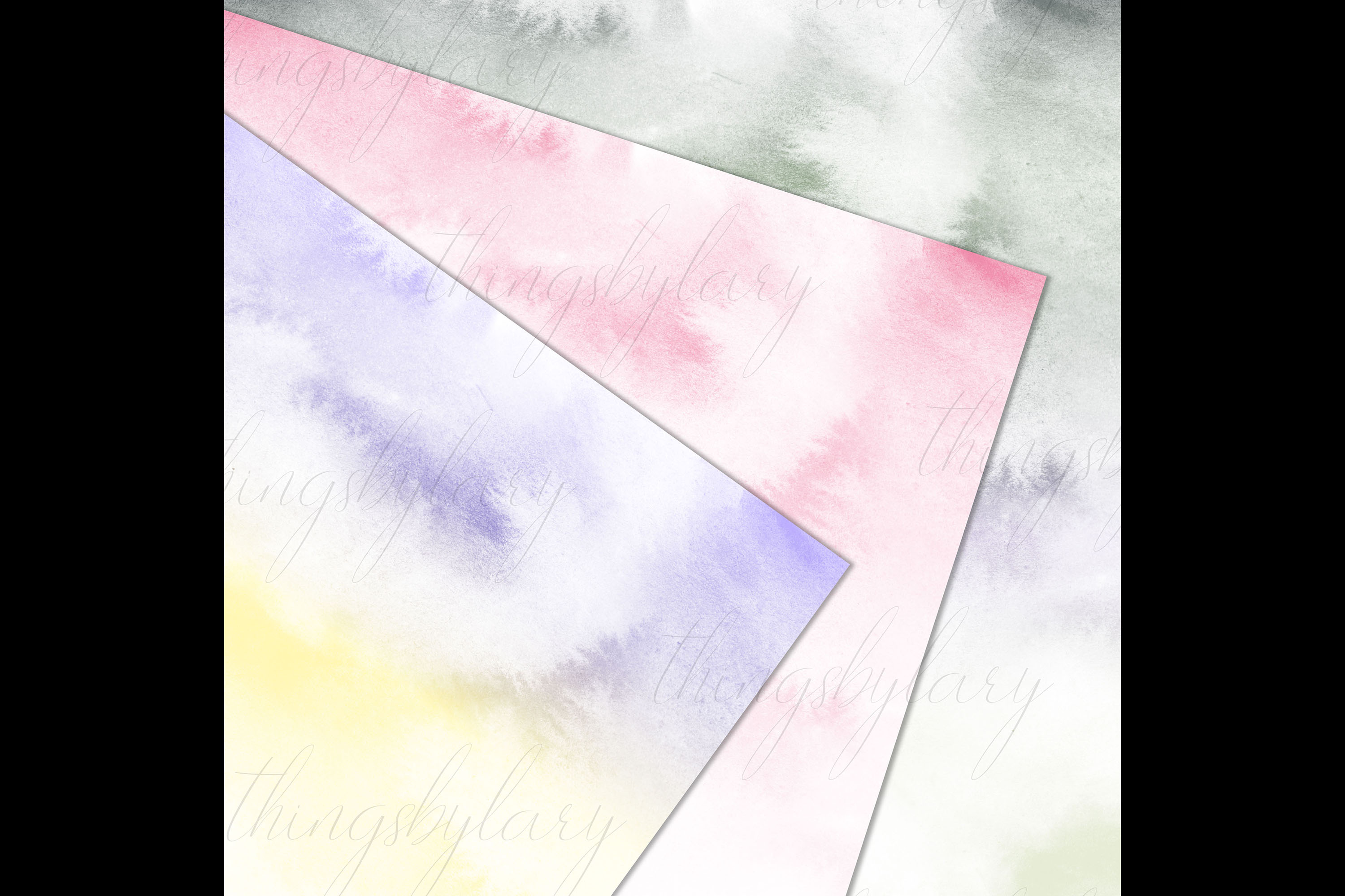 30 Watercolor Fairy Tale Cloudy Sky Baby Shower Paper Images example image 5