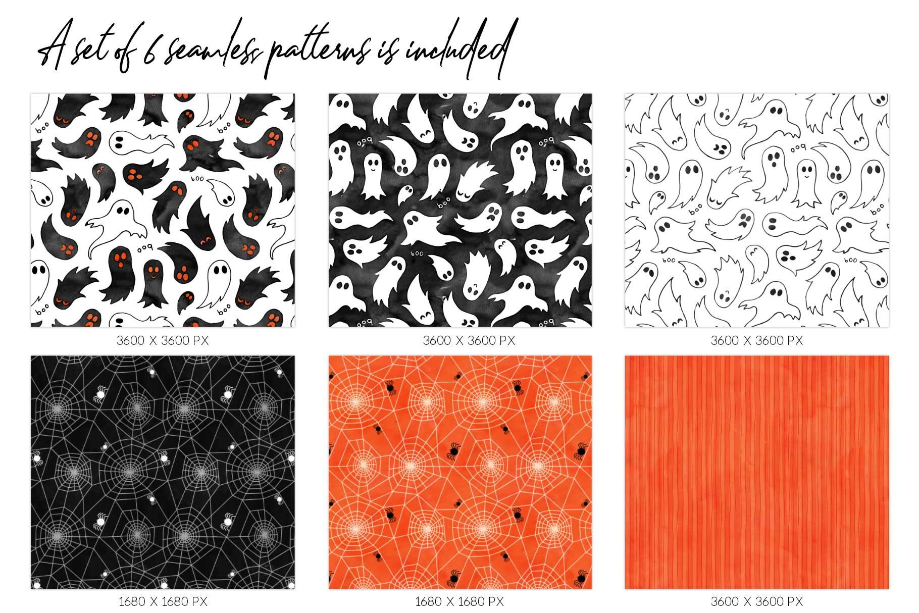 6 Huge Seamless Watercolour Halloween Textures example image 3