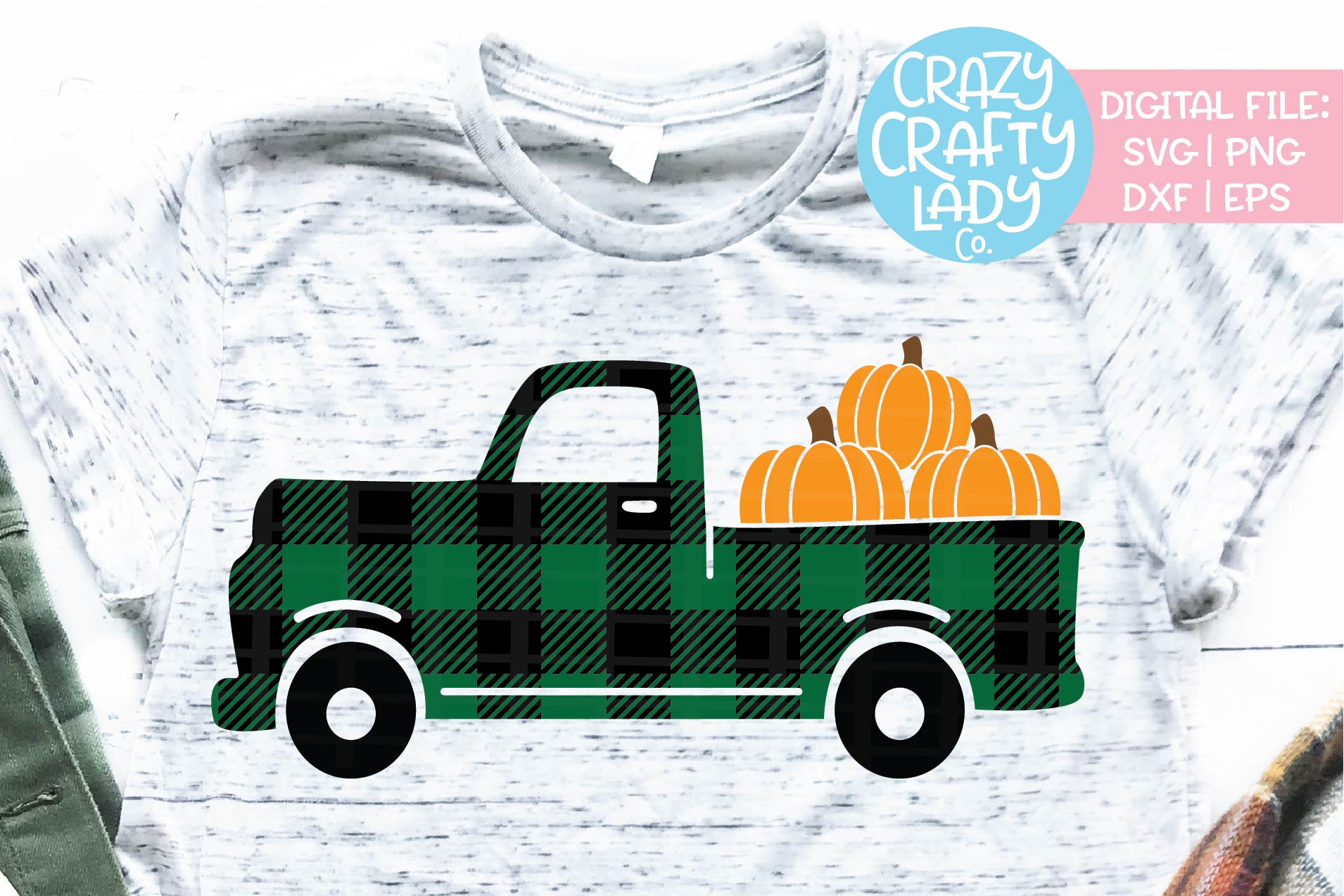 Buffalo Plaid Fall Pumpkin Truck SVG DXF EPS PNG Cut File example image 1