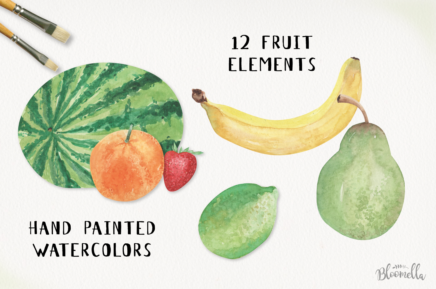 Fruit Watercolor Elements Hand Painted Apple Banana Fun Kiwi example image 2