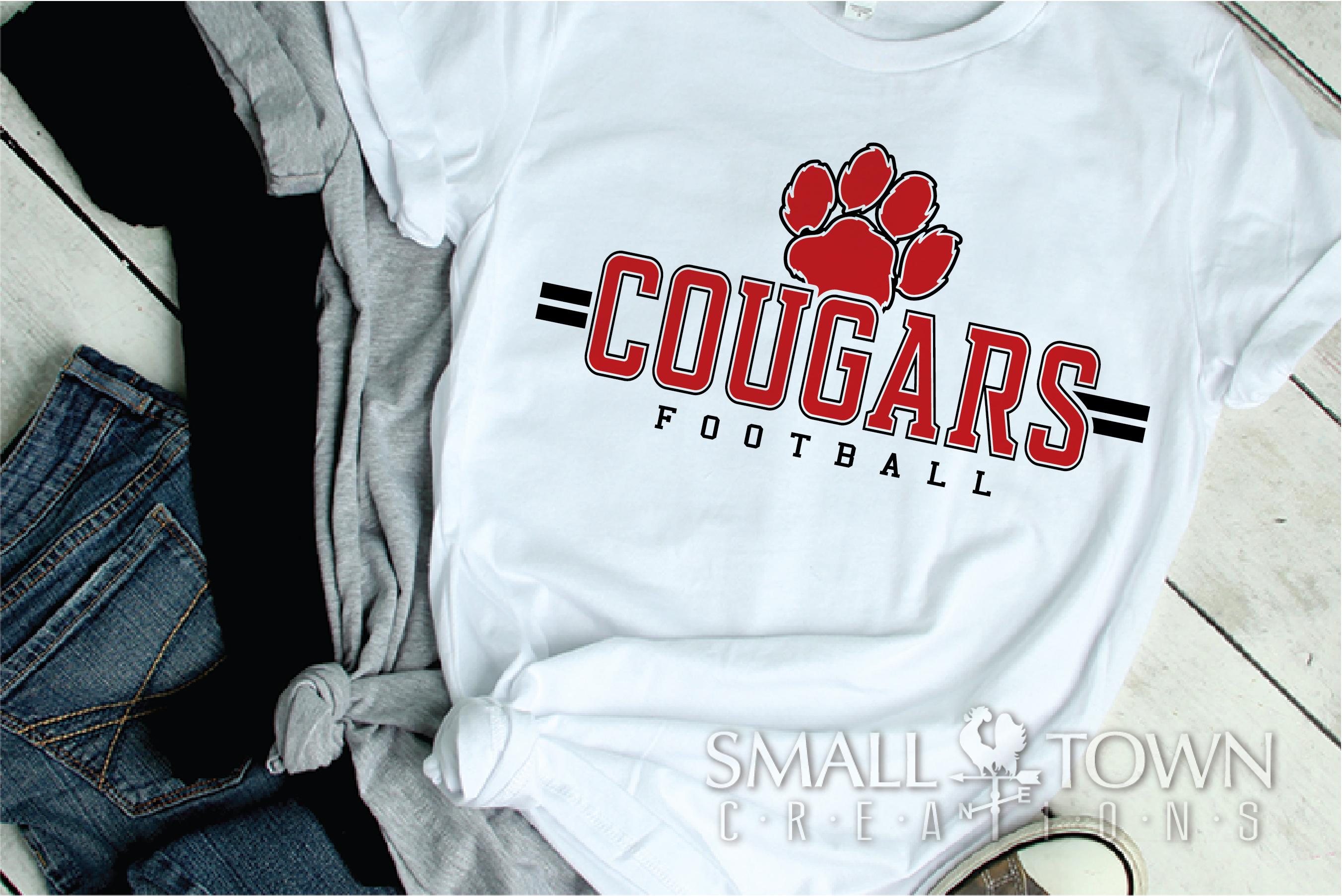 Cougar Football, Paw Print, Team, logo, PRINT, CUT & DESIGN example image 2