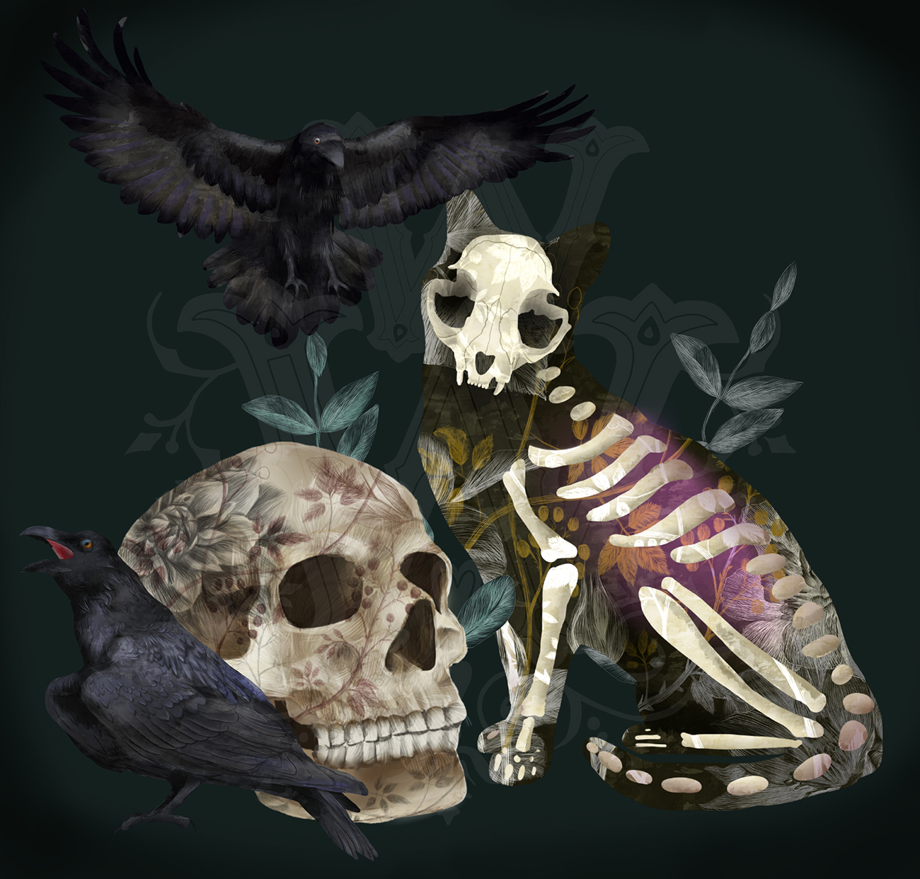 Halloween spooky clipart with skeleton cats, witch skull example image 4