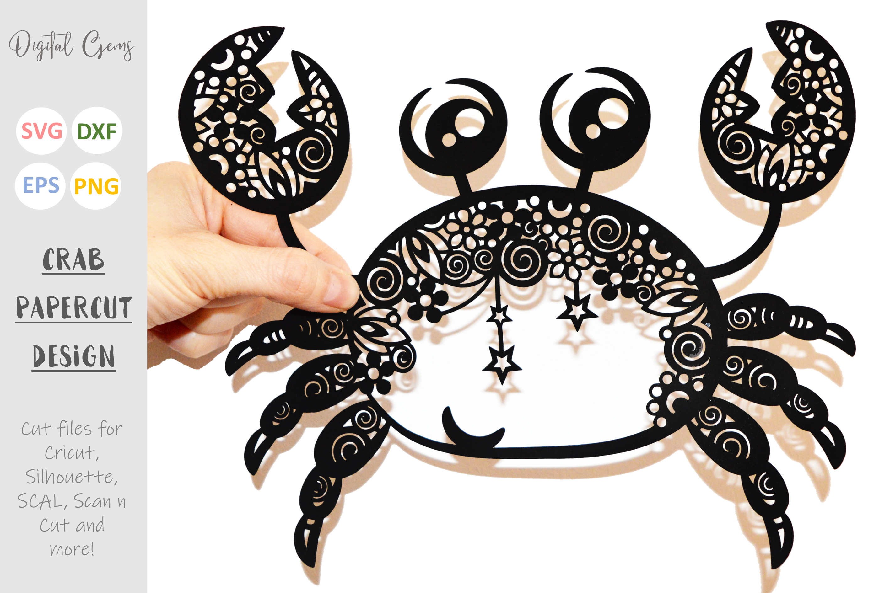 Crab paper cut SVG / DXF / EPS files example image 1