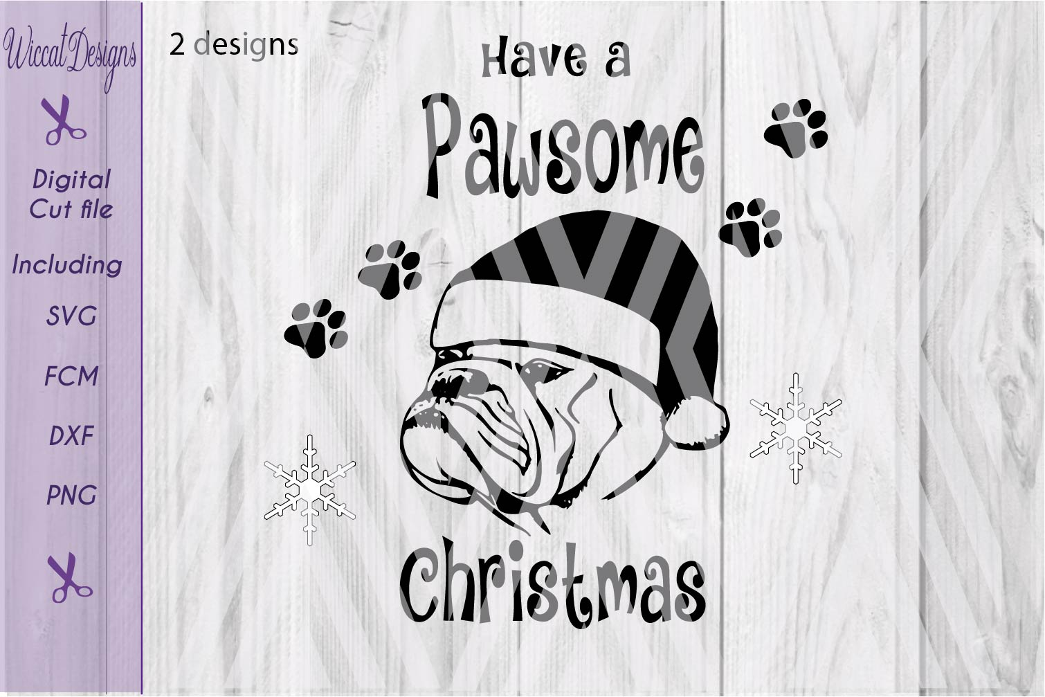 Christmas Bulldog svg, Pawsome svg, santa dog cut file example image 6