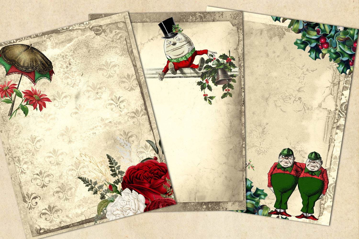 Christmas Alice In Wonderland Journal Paper example image 2