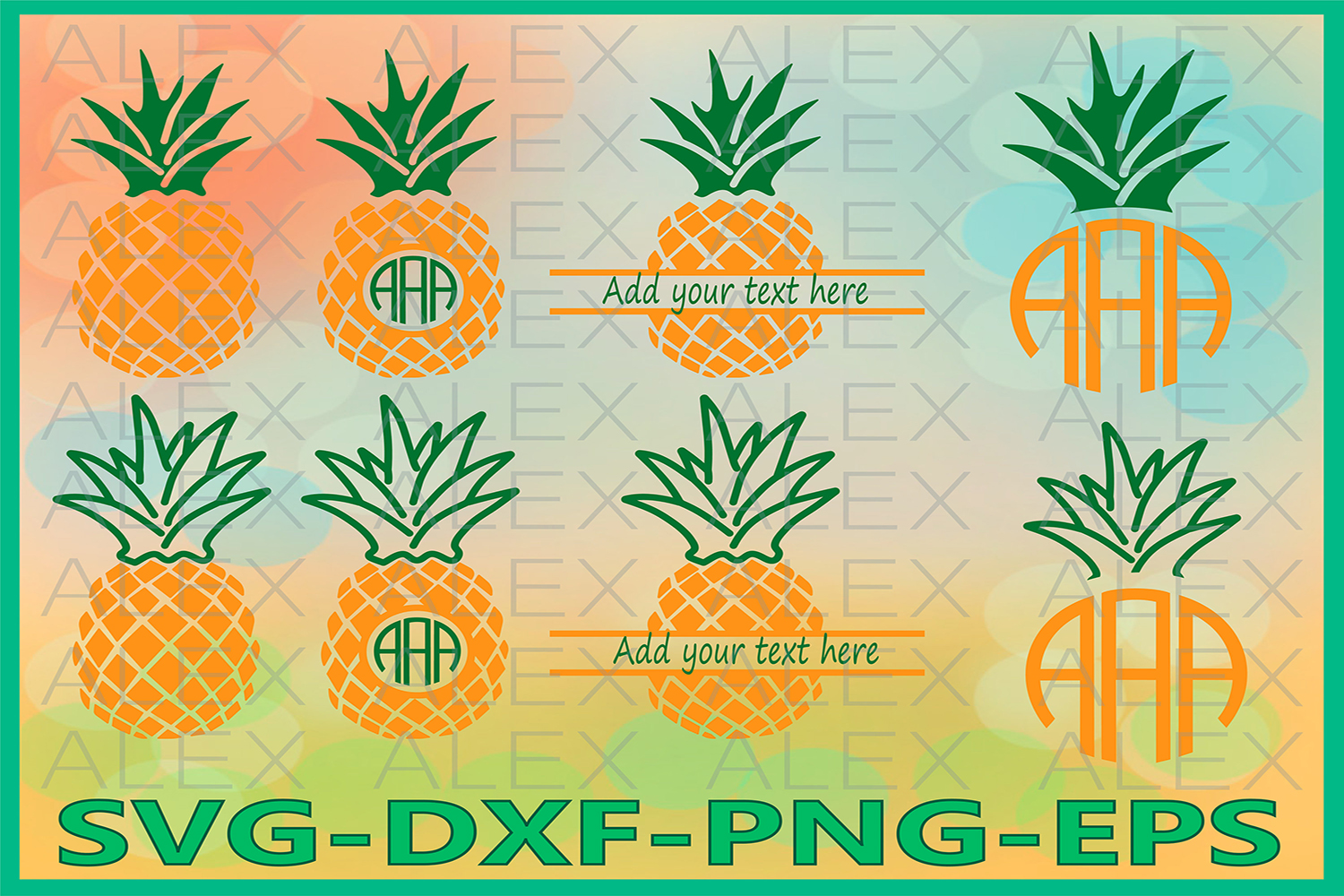 Pineapple SVG, Pineapple Monogram SVG, Pineapple Cricut example image 1