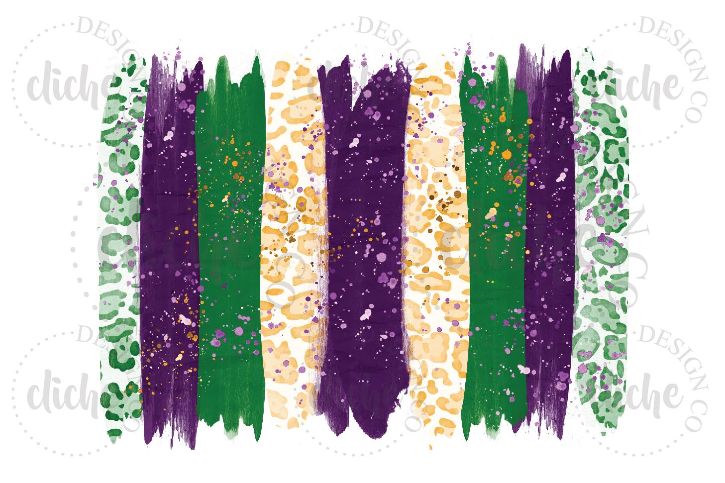 Mardi Gras Paint Stroke Sublimation Design Background example image 1