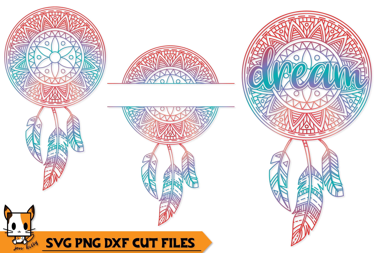 Dream Boho Dreamcatcher - Mandala SVG PNG DXF Cut Files example image 1