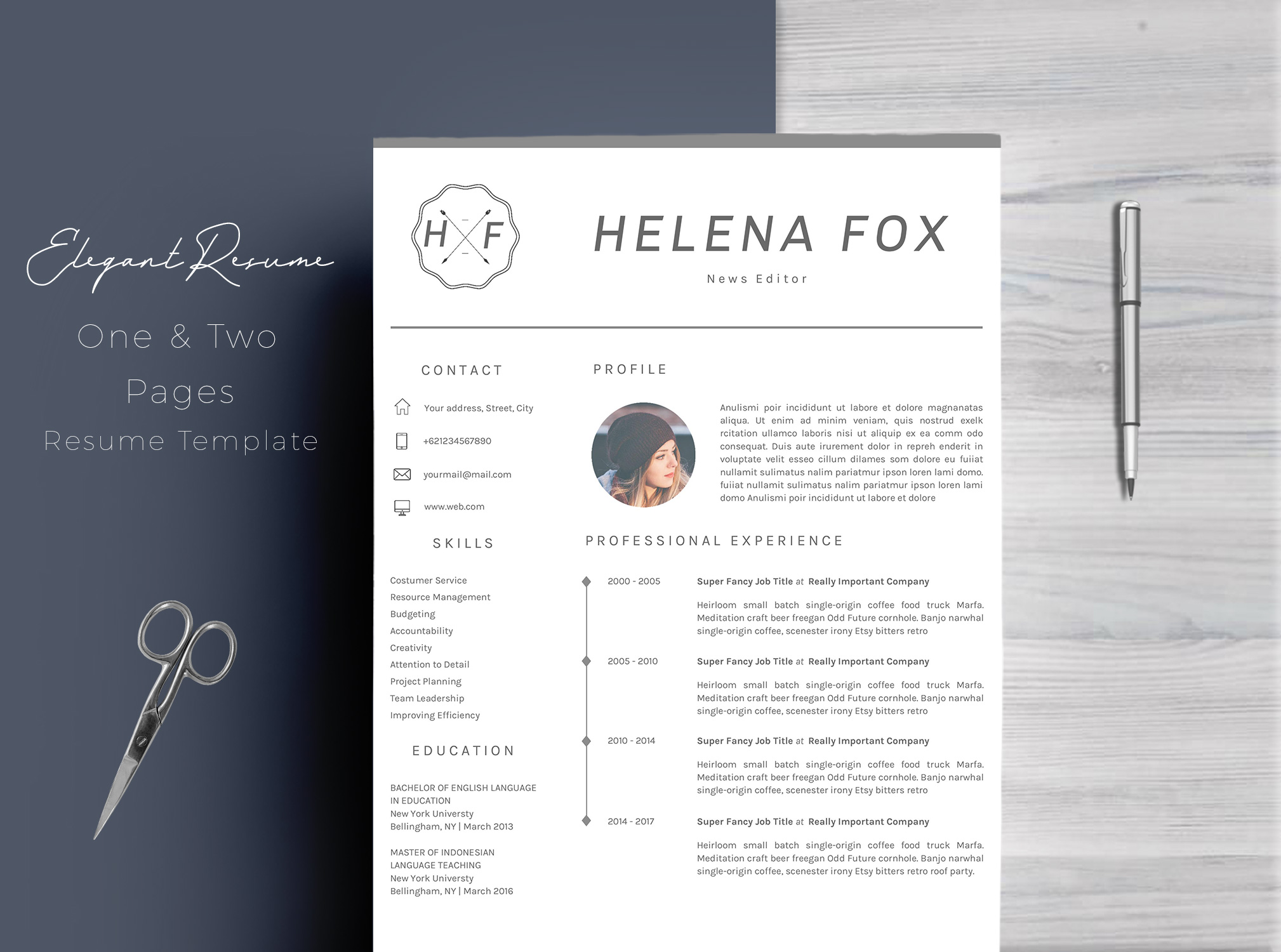 Creative Chic Resume Template 4 Pages example image 1