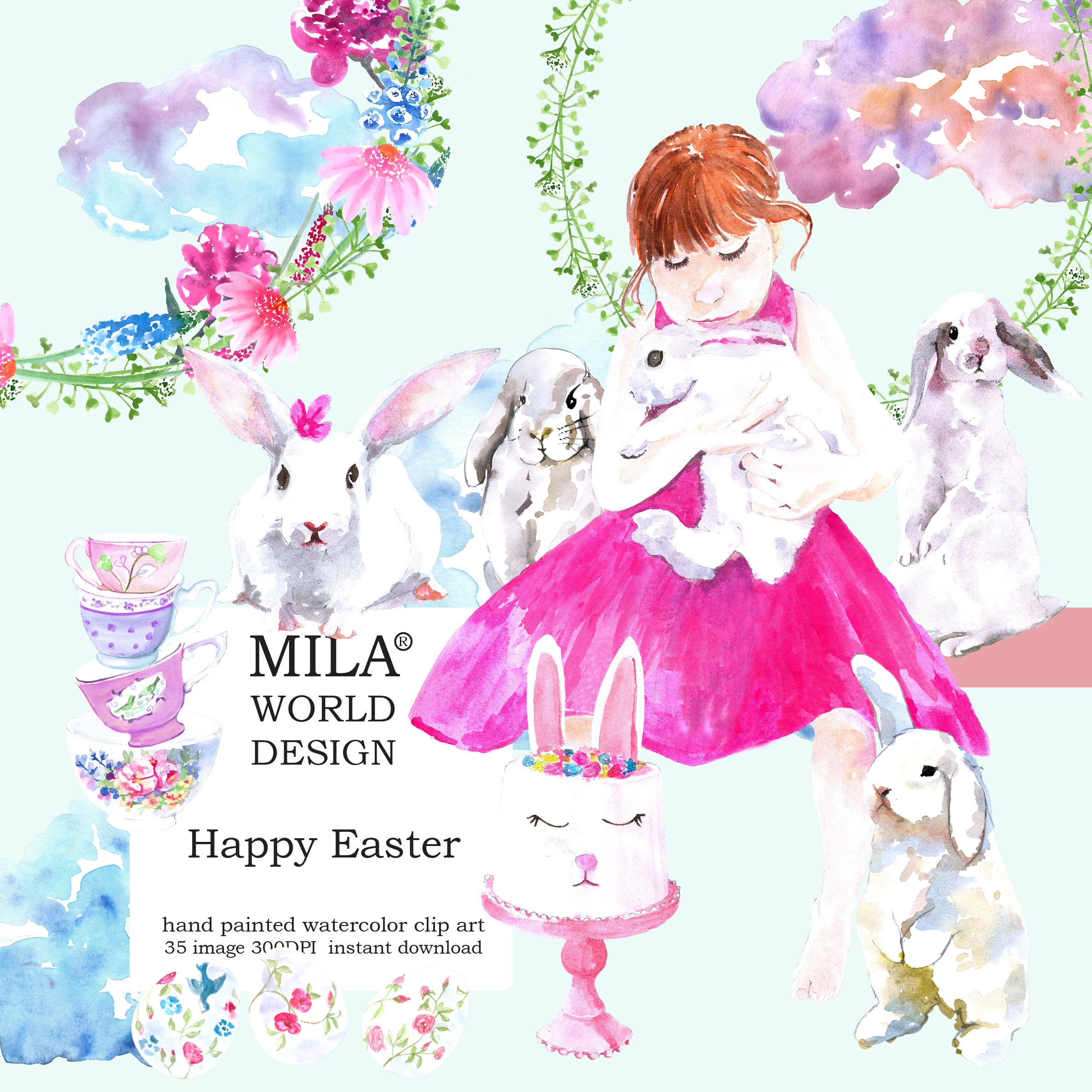 Watercolor Easter clipart example image 1