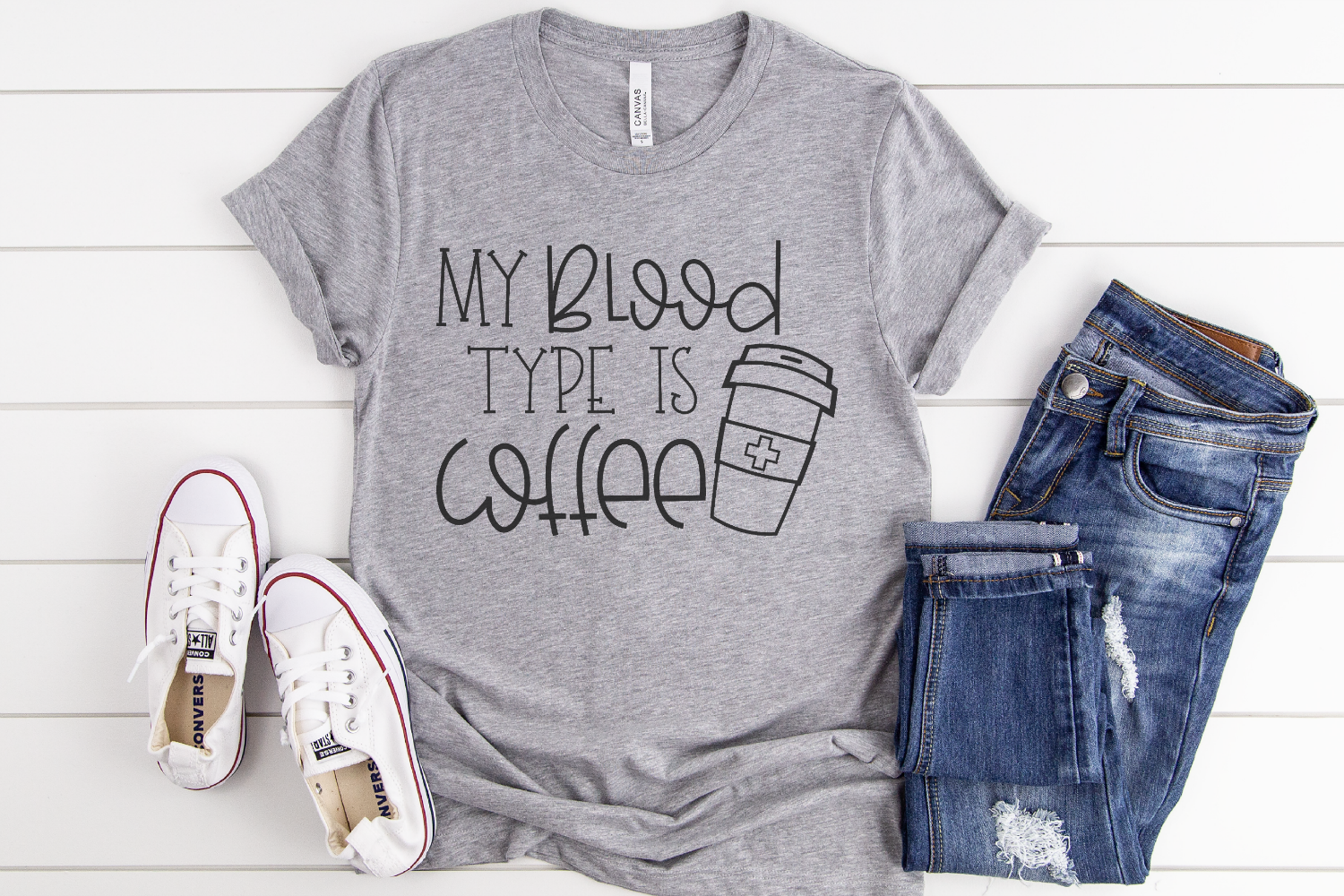 Coffee Saying - Funny Quote - My Blood Type Is Coffee SVG example image 2