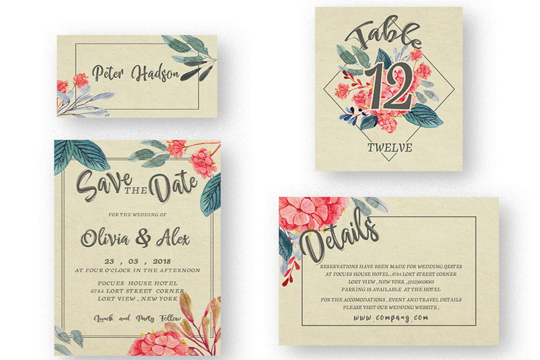 Watercolor flower Wedding invitation set example image 4