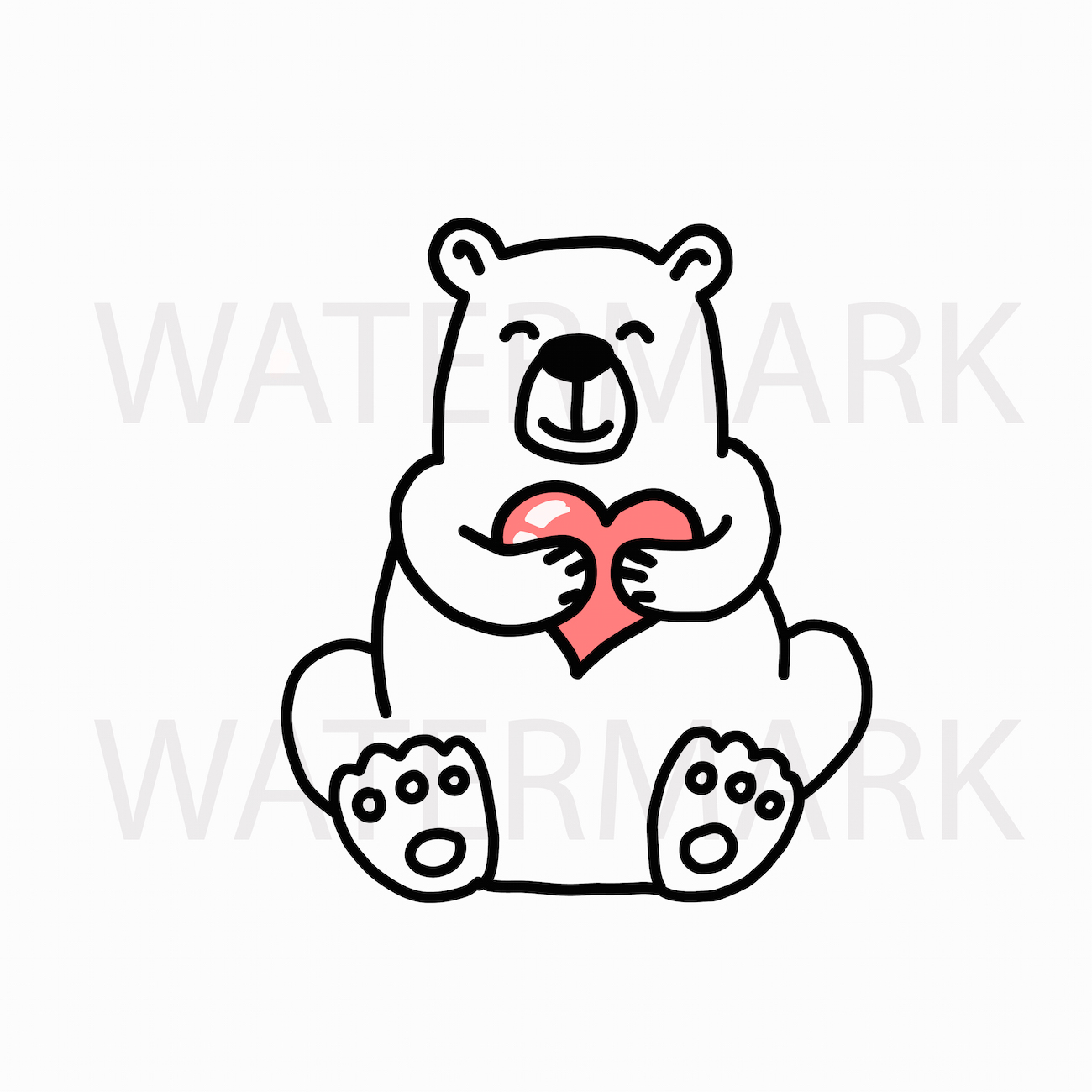 Bear Reading Book with Bear Holding a Heart - SVG/JPG/PNG example image 2