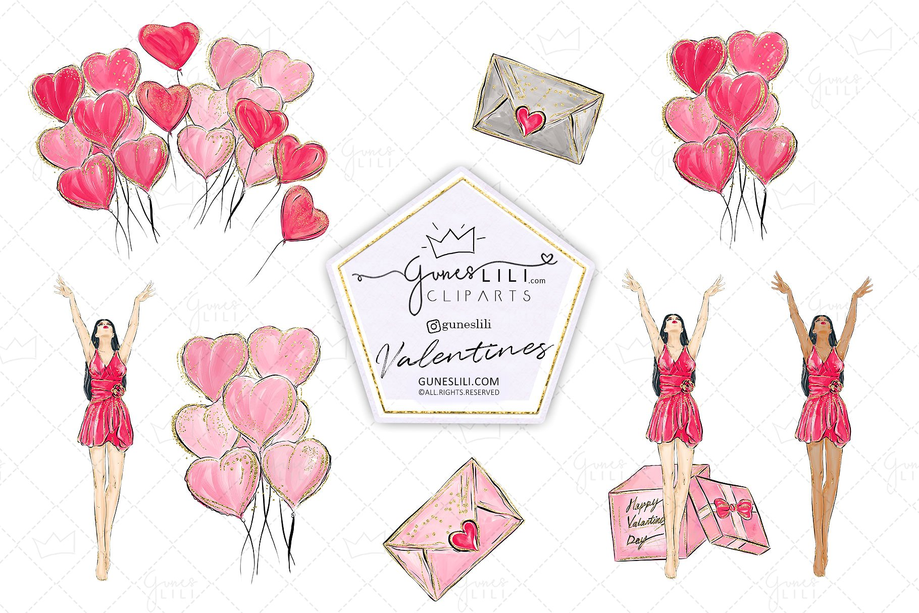 Cute Valentine Clipart Valentines Day Clipart Scrapbooking example image 4
