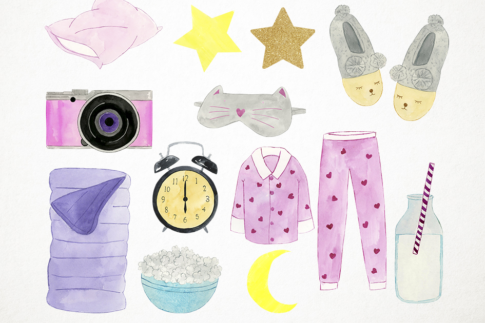 Watercolor Slumber Party Clipart, Slumber Party Clip Art example image 3