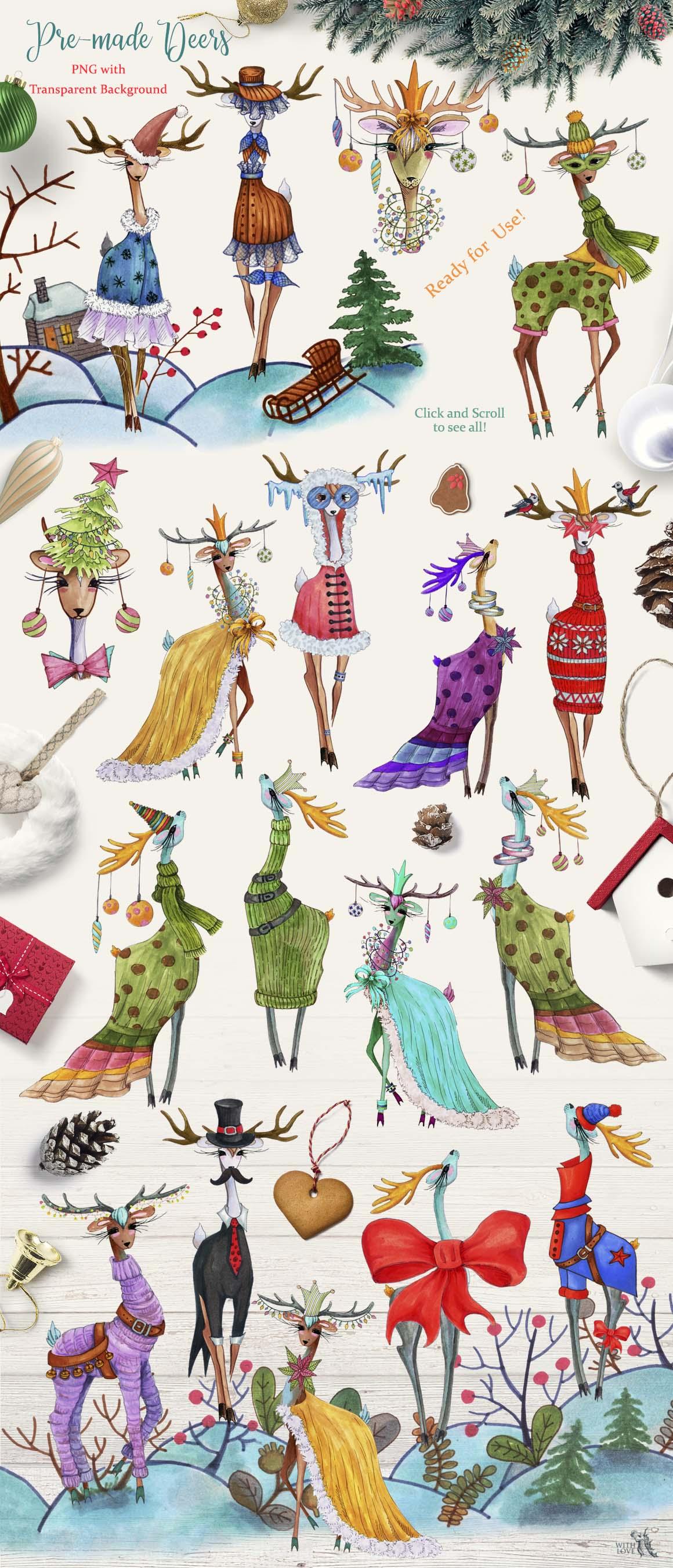 Fashion Christmas Deers Creator example image 7