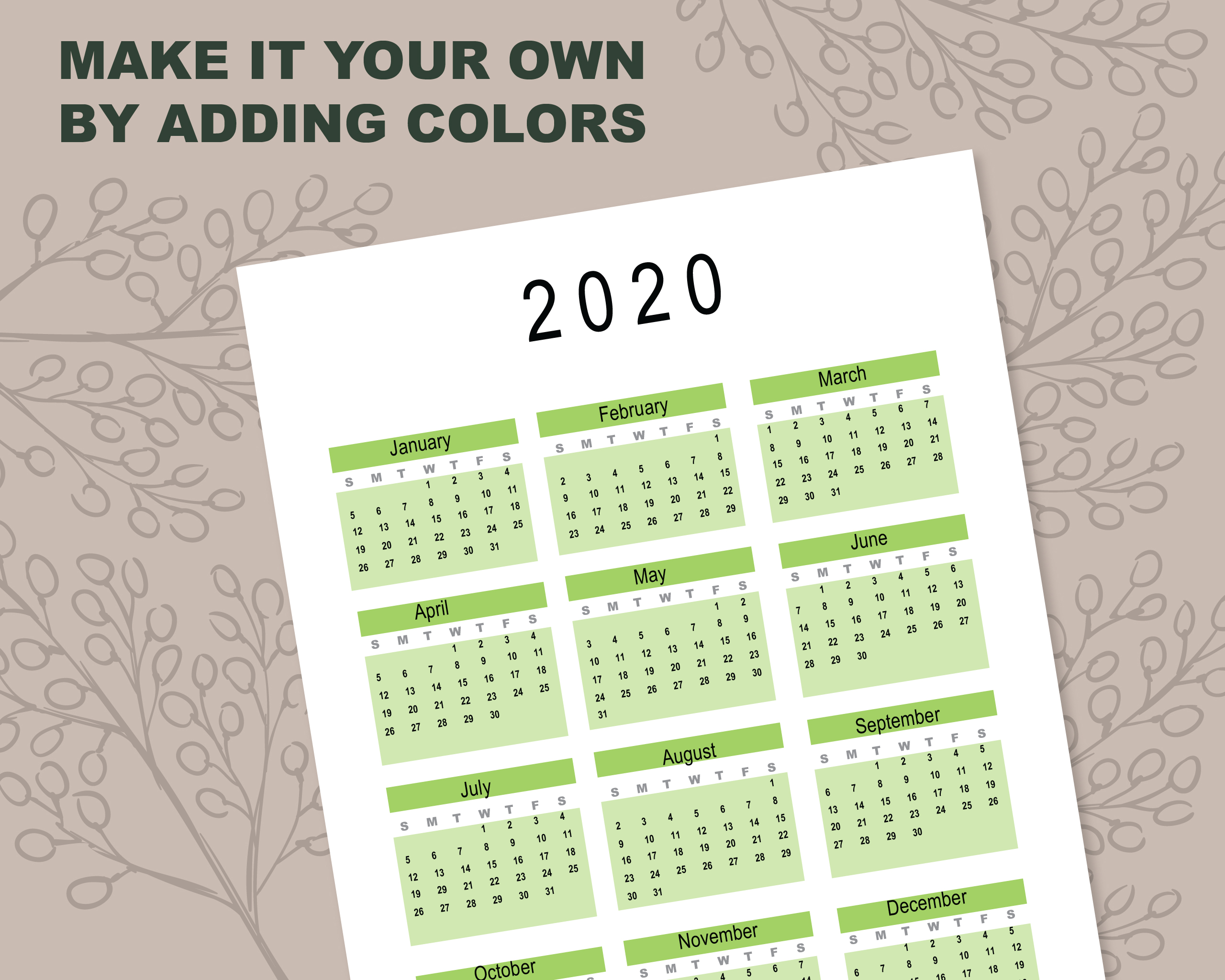 2020 Calendar Template for Commercial Use - PSD, EPS, PDF example image 4