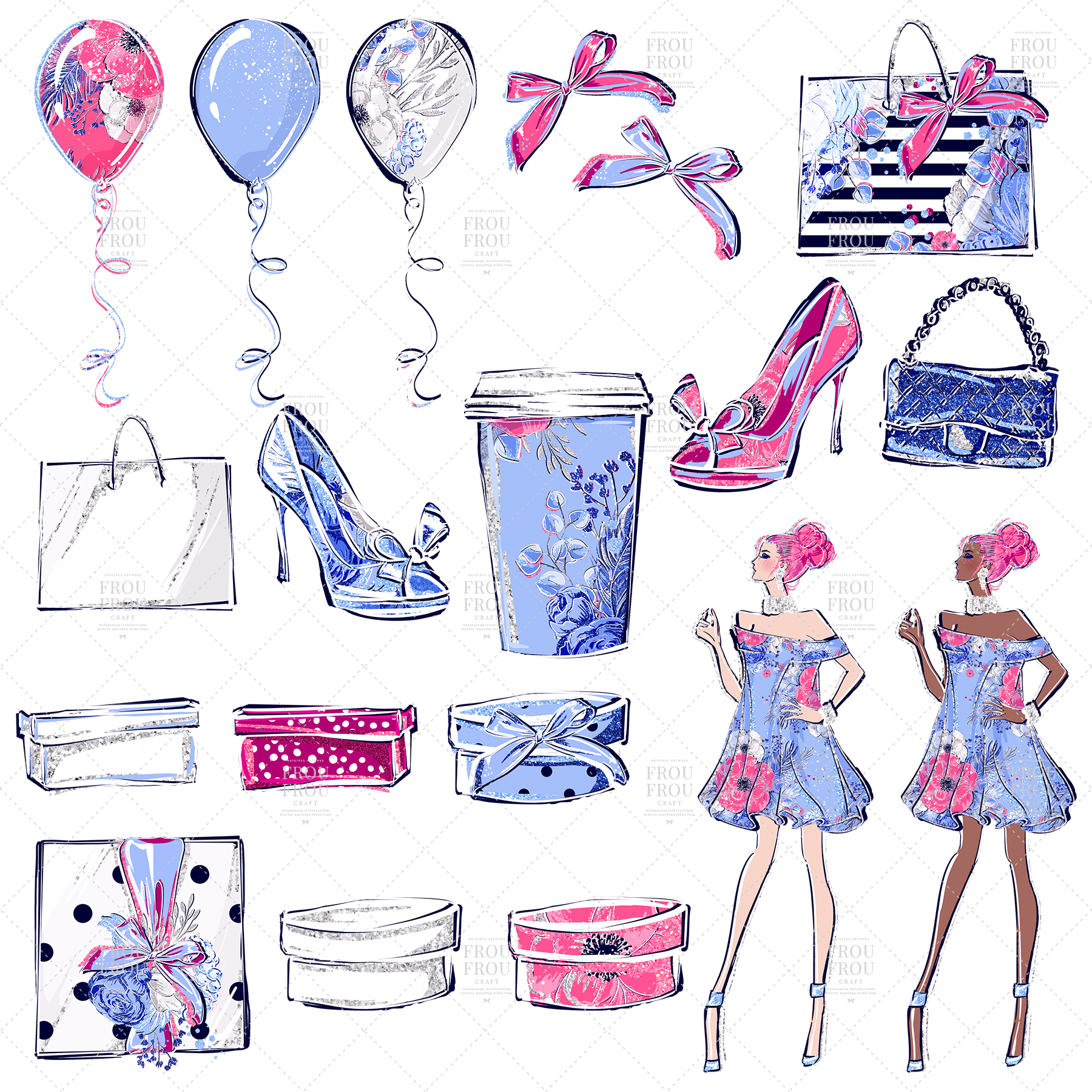 Fashion Girl Shopping Floral Silver Glitter Clip Art example image 2