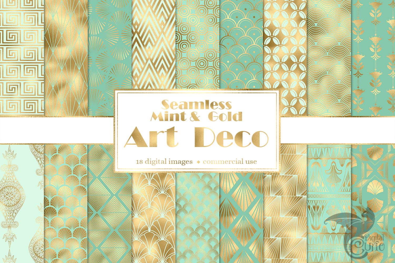 Mint and Gold Art Deco Digital Paper example image 1