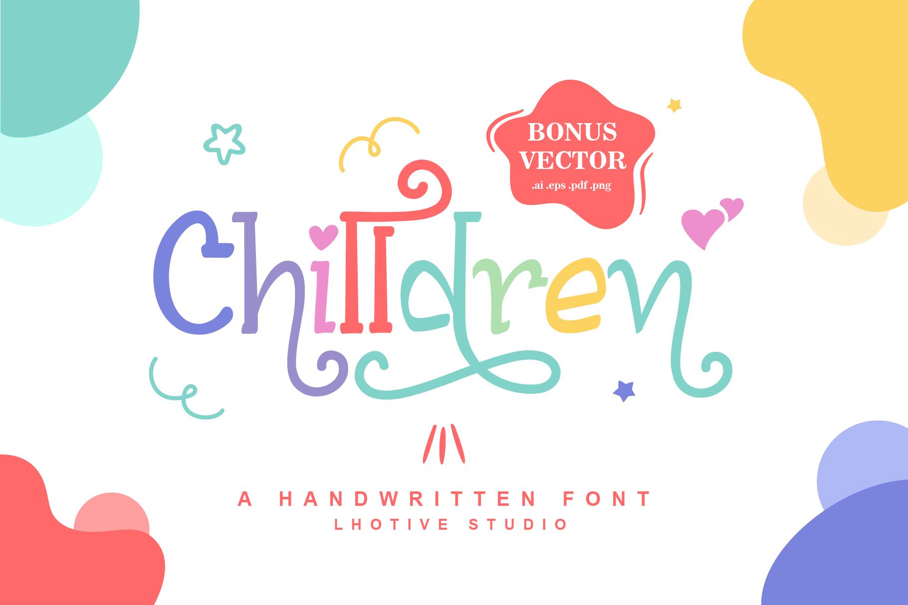 Chilldren Handwritten | Bonus Vector example image 1