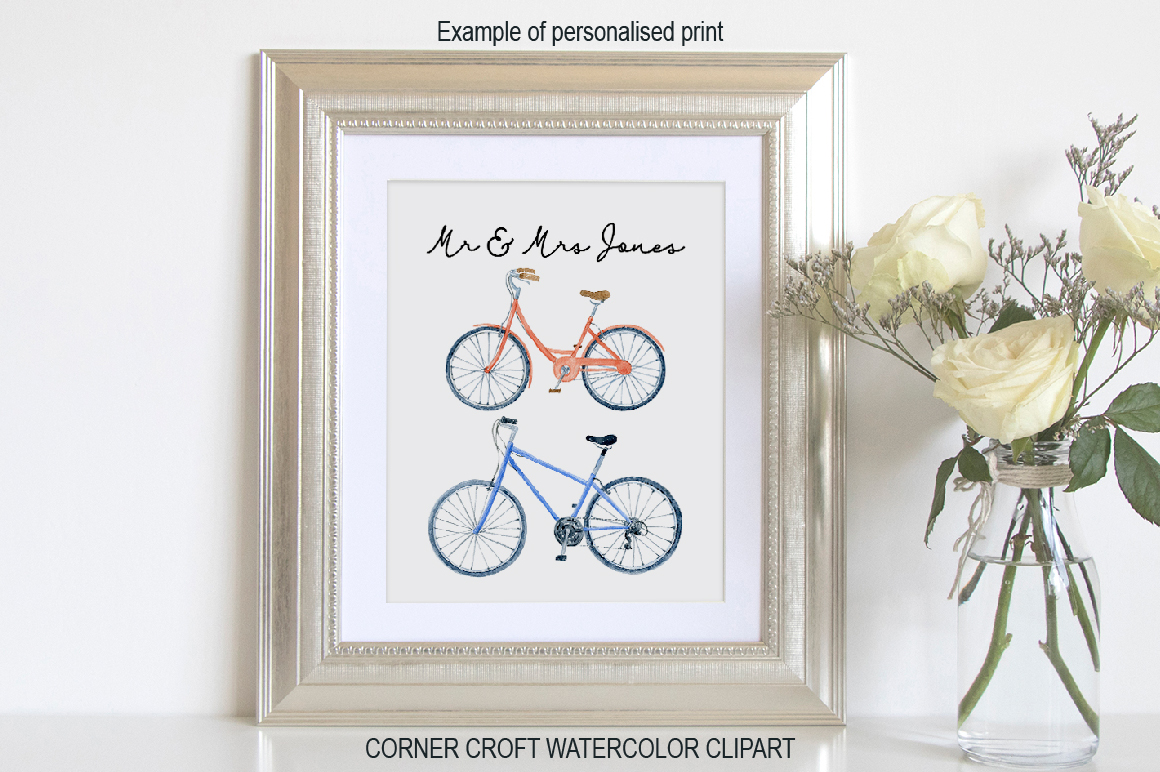 Watercolor Cycling Clipart example image 6