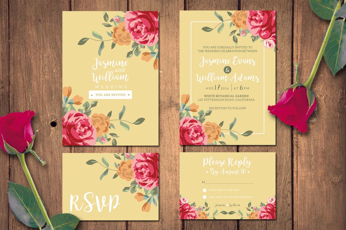 Floral Wedding Invitation + RSVP example image 3