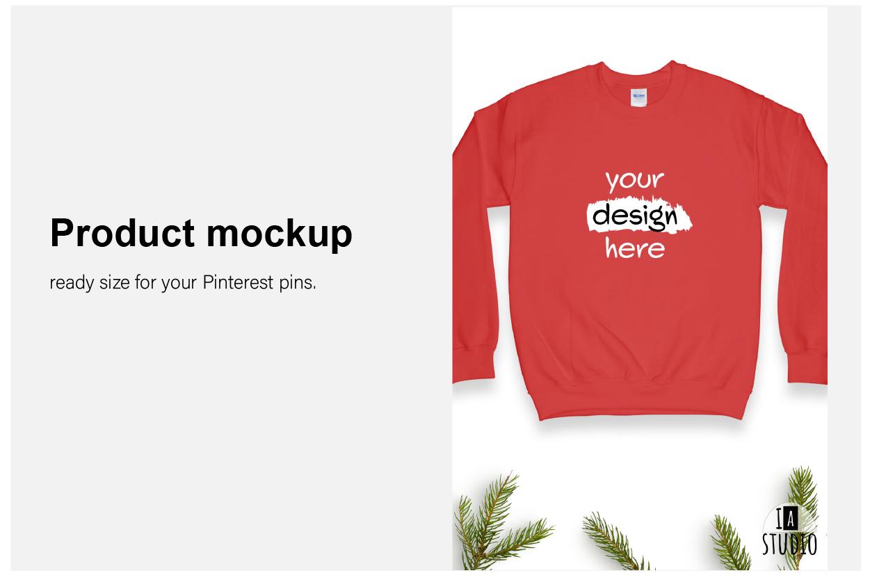 Christmas Sweatshirt Mockup / Gildan 18000 Red / Flat Lay example image 2