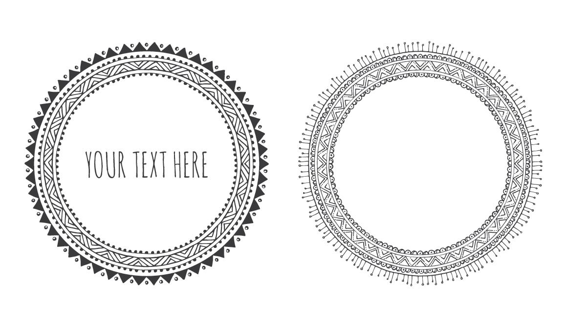 10 Hand Drawn Decorative Round Frames example image 4
