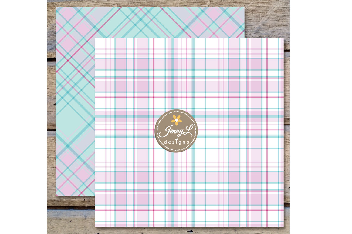 Dainty Pastel Plaid Digital Papers example image 2