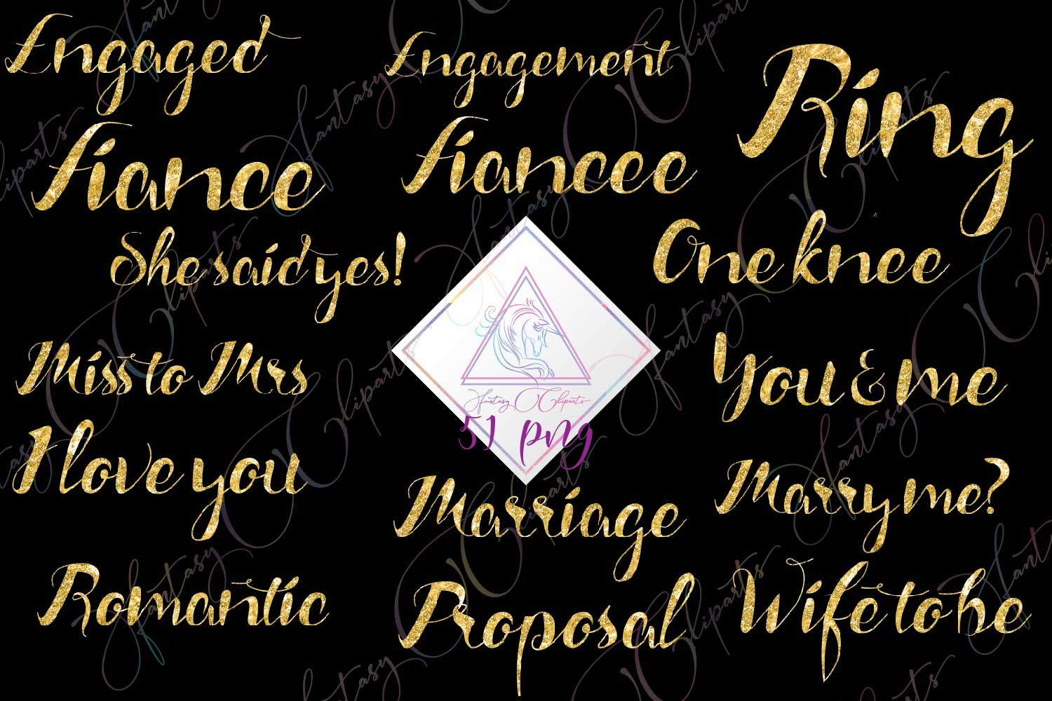Engagement Word Art Clipart example image 1