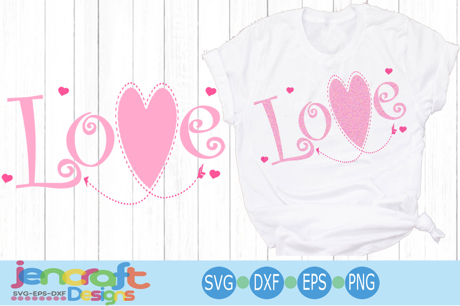 Valentine Love SVG - Stitched Heart arrow svg file example image 1